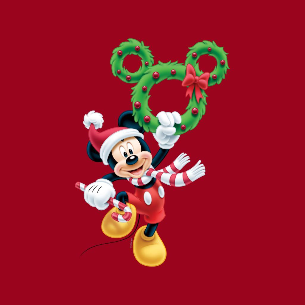 Disney-Mickey-Christmas-Mouse-Wreath-Women-039-s-T-Shirt thumbnail 7