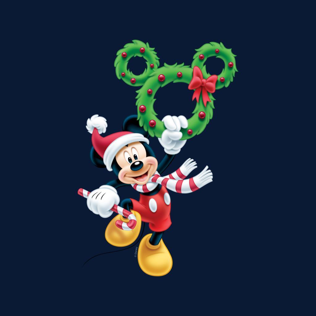 Disney-Mickey-Christmas-Mouse-Wreath-Women-039-s-T-Shirt thumbnail 12