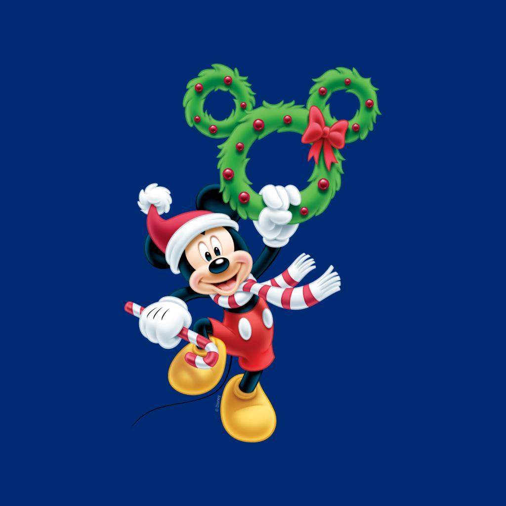 Disney-Mickey-Christmas-Mouse-Wreath-Women-039-s-T-Shirt thumbnail 17