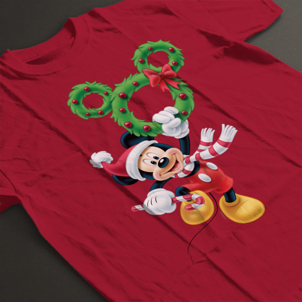 Disney-Mickey-Christmas-Mouse-Wreath-Women-039-s-T-Shirt thumbnail 9