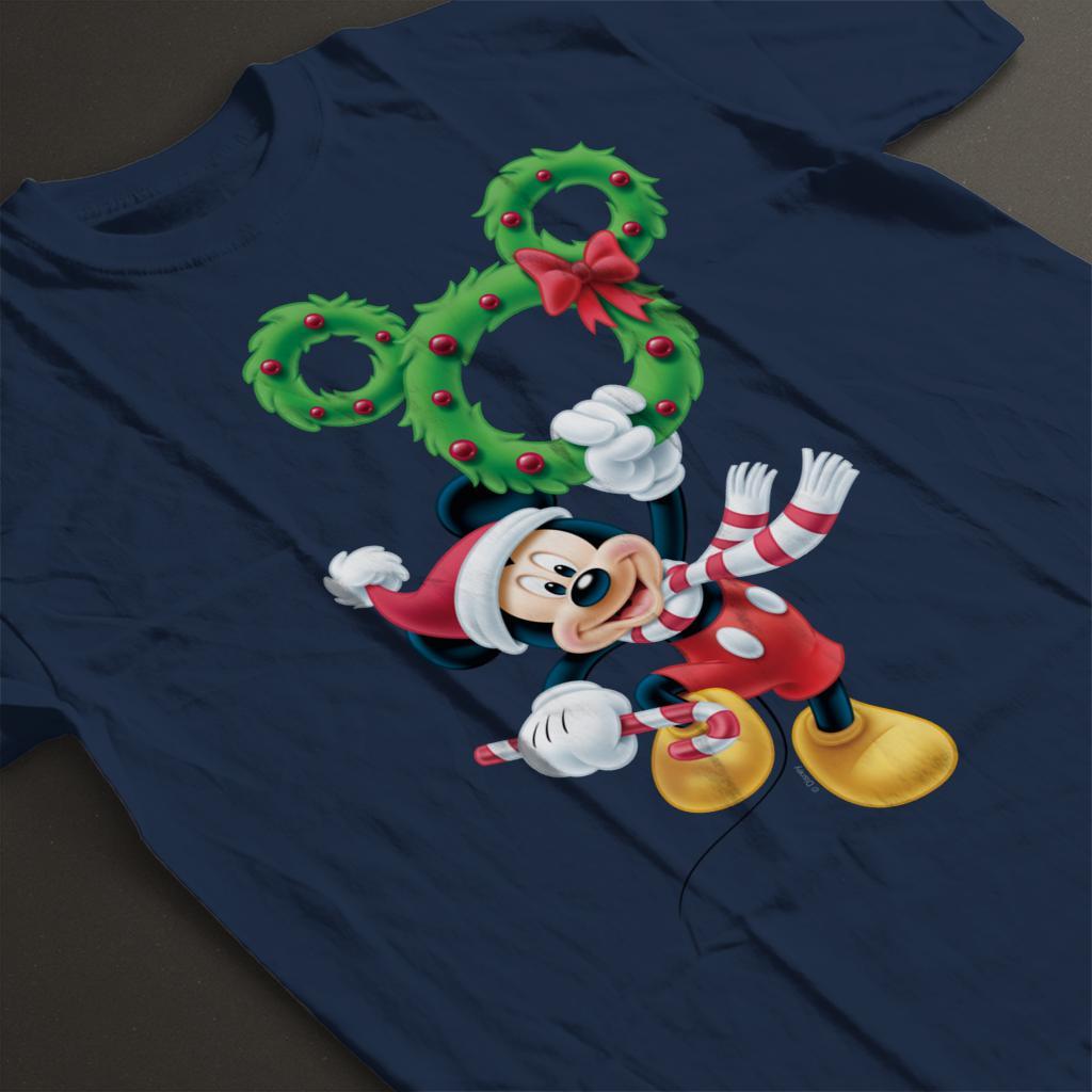 Disney-Mickey-Christmas-Mouse-Wreath-Women-039-s-T-Shirt thumbnail 14