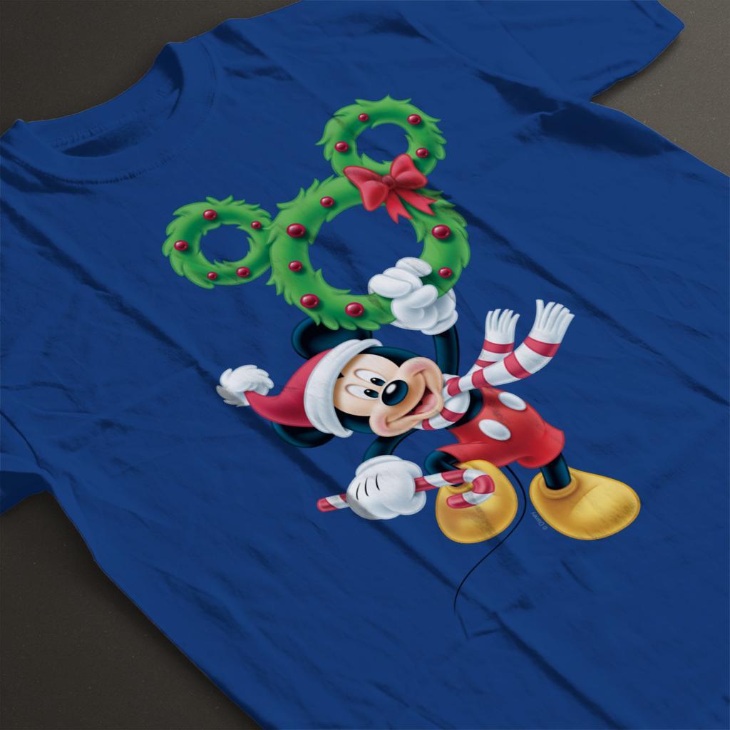 Disney-Mickey-Christmas-Mouse-Wreath-Women-039-s-T-Shirt thumbnail 19
