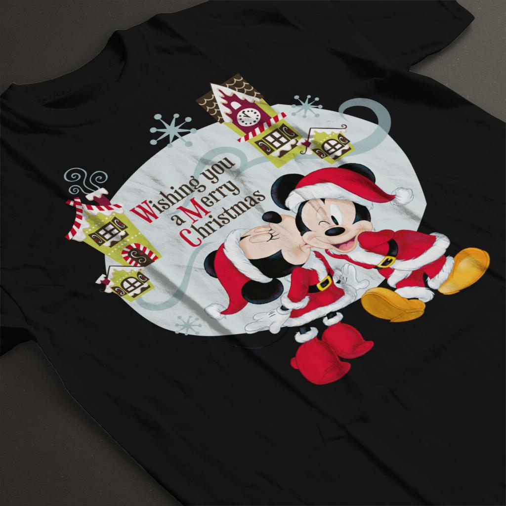 Disney-Mickey-Mouse-Village-Merry-Christmas-Women-039-s-T-Shirt thumbnail 9